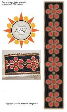 Red and gold flowers peyote bracelet pattern PDF by BeadedByKiKi