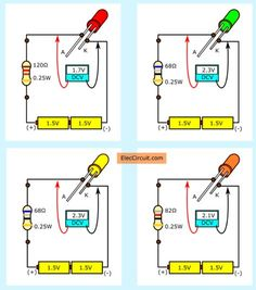 LED voltages of red green yellow orange