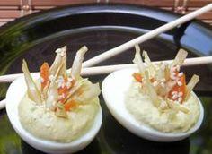 Wasabi Deviled Eggs with Sesame Ginger Slaw