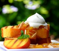 Grilled Pound Cake with Warm Peach Coulis and Chantilly Cream >> Well, gosh darnit, this is happening!