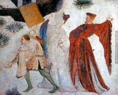 Fresco depicting January at Castello Buonconsiglio, Trento, Italy, c. 1405-1410.
