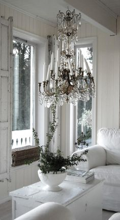 7 Delicious Clever Ideas: Shabby Chic Home Beautiful Bedrooms country shabby chic curtains.Shabby Chic Home Beautiful Bedrooms. House Design, Chandelier, Gustavian Style, Decor, White Shabby Chic, Home, White Decor, Shabby Chic Homes, Home Decor