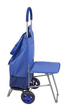 dbest products Trolley Dolly with Seat, Blue Shopping Grocery Foldable Cart Tailgate Trolley Dolly, Trolley Bags, Shopping Cart Cover, Office Gadgets, Rolling Backpack, Indian Homes, Reusable Bags, Bag Organization, Travel Bags