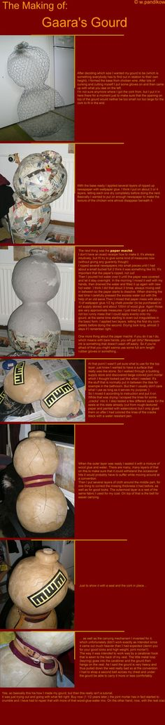 The Making of Gaara's Gourd by ThundersSilence on DeviantArt Cosplay Weapons, Cosplay Diy, Cosplay Outfits, Halloween Cosplay, Best Cosplay, Cosplay Costumes, Amazing Cosplay, Gaara Cosplay, Anime Cosplay