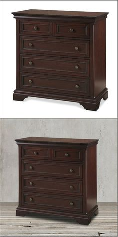 This brown stylish chest of drawers is made from mahogany solids and cherry veneers in rich cherry finish and antique brass hardware will surely inspire you to be organized since it can store your lingeries, socks and other apparel items. It features four large drawers with easy-glide suspension for long lasting usability, and the top drawer is lined in felt to suport delicate items like jewelry.