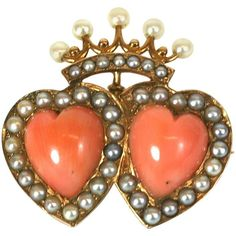 Victorian Double Coral Heart and Crown Brooch/Pendant For Sale at 1stdibs