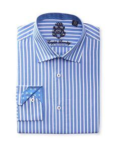 55% OFF English Laundry Men's Striped Dress Shirt (Blue)