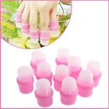 10 Nail Soakers  Voor het verwijderen gel- acryl- en soak off gellaknagels.Vul de nail soaker met de gewenste vloeistof tot net onder de rand van het transparante dopje. Doe vervolgens een van de vingers voorzichtig met een draaiende beweging in de nail soaker.