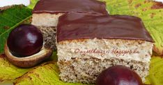 Gesztenyés szelet (cake with chestnut paste topping) Brownie Muffin Recipe, Muffin Recipes, Poppy Cake, Hungarian Recipes, Hungarian Food, Diy Food, Cake Cookies, Nutella, Gastronomia