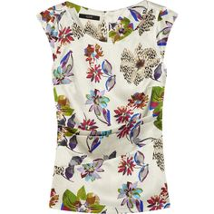 Etro Floral-print stretch silk-blend satin top (11.545 RUB) ❤ liked on Polyvore featuring tops, shirts, blusas, blouses, white, white floral top, floral top, floral print top, colorful shirts and pleated shirt