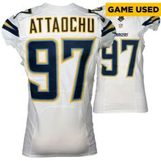 Jeremiah Attaochu San Diego Chargers Fanatics Authentic Game-Used #97 White Jersey vs. Houston Texans on November 27, 2016 - $399.99