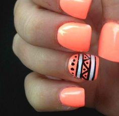 """Try this tribal design with Gelish """"I'm Brighter Than You"""" nail lacquer! You'll LOVE how bright this color is! I love how simple it is!"""
