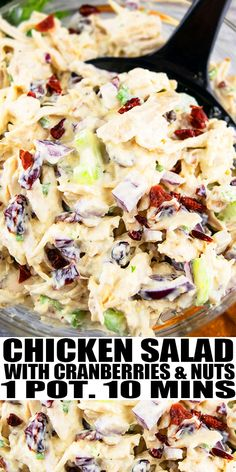 CRANBERRY CHICKEN SALAD RECIPE- The best quick and easy chicken salad, homemade with simple ingredients in one pot in 10 minutes. Rich, creamy, packed with mayo, sour cream, roasted pecans, walnuts, dried cranberries, shredded chicken. Seasoned with garlic, parsley and basil. From OnePotRecipes.com #salad #chicken #cranberry #sidedish #onepotrecipes #onepotmeal #30minutemeal #30minuterecipes
