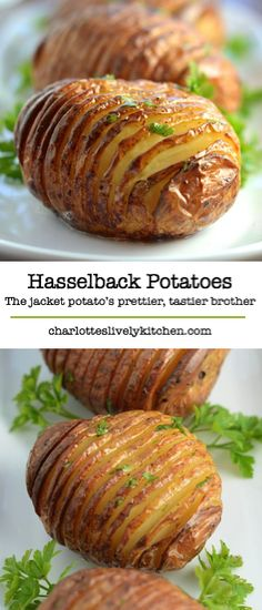 Hasselback Potatoes recipe: Meet the jacket potato's prettier and tastier brother – the hasselback potato. Side Dish Recipes, Veggie Recipes, Vegetarian Recipes, Cooking Recipes, Healthy Recipes, Recipes For Potatoes, Easy Potato Recipes, Potato Dishes, Food Dishes