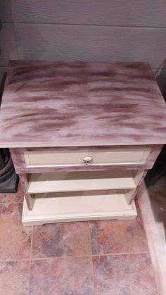 chalk painted night table, waxed to show aged look with knob, $175, email ladybggg@gmail.com   LADYBUG DESIGNS, southern Ontario