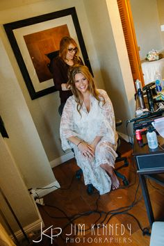 Jessica getting ready for her big day! Jim Kennedy Photographers - Jessica & Alex's Wedding at the Center Club Orange County.