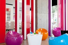 The lobby is a mix of various hues and color palettes.