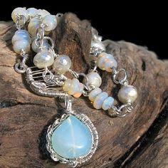 Australian Opal Faceted Pearl Necklace Peruvian Blue Opal Pendant   bohowirewrapped - Jewelry on ArtFire