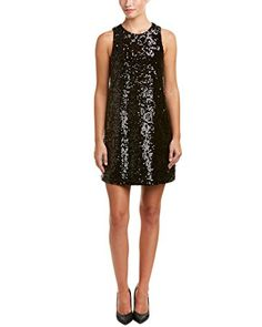 Michael Stars Womens Sequin Sleeveless Crew Neck Shift Dress Black Large -- Continue to the product at the image link.