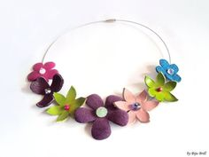 Perfect for Spring - Colorful Leather Flowers Bouquet Necklace Purple by BijuBrill, $21.00