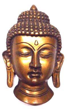 Tibetan Buddhist Buddha Head Handmade Brass Wall Hanging Mask Statue Wall Decor