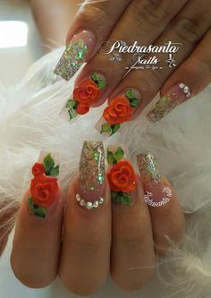 Unñas rous Glow Nails, 3d Nails, Swag Nails, Stiletto Nails, Gel Nail Art Designs, Flower Nail Designs, Fabulous Nails, Gorgeous Nails, Pretty Nails