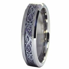 Celtic Dragon Royal Purple 6mm Tungsten Ring Womens Mens Wedding Band Size 6-9.5 #FantasyForgeJewelry #Celtic #WeddingHandfasting Tungsten Jewelry, Tungsten Carbide Rings, Celtic Wedding Rings, Wedding Ring Bands, Womens Wedding Bands, Wedding Men, Casual Rings, Celtic Dragon, Jewelry Rings