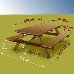 Construire une table de pique-nique - Ooreka - Shoe Tutorial and Ideas Pallet Picnic Tables, Build A Picnic Table, Table Camping, Patio Table, Diy Table, Diy Garden Furniture, Diy Outdoor Furniture, Furniture Plans, Building Furniture