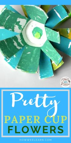 This is such a pretty flower craft for kids to make. The only materials needed are paper cups and paint! It is a wonderful process art project for spring when you use pale pink, blue, yellow, and green paint. It is easy enough for toddlers and preschoolers to create too!