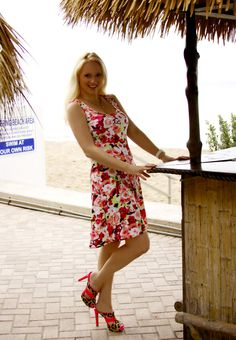 Today's #OOTD:  Beach Floral Print Resort Style Sundress with handcrafted pink swarovski necklace and bracelet http://ish.re/JYAI #fashion #style #outfit #dress #bracelet #necklace #jaxcouture #michaelnegrin #beach #resort #clothing