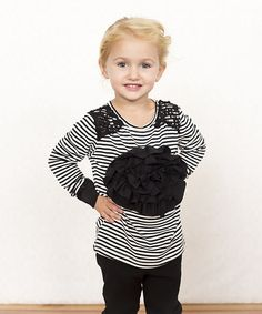 This Black & White Stripe Rosette Long-Sleeve Top - Toddler & Girls by Monkey Mae is perfect! Black White Stripes, Black And White, Baby Couture, Girly Girls, Rosettes, Toddler Girl, Long Sleeve Tops, That Look, Daughter