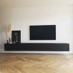 TV cabinet hanging black oak - Home Home Room Design, Home Interior Design, Living Room Designs, House Design, Living Room Tv, Living Room Modern, Home And Living, Deco Studio, House Rooms