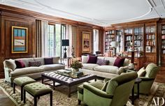 Home Library Bookshelf Design - In the living room of Manhattan townhouse revamped by Sawyer | Berson