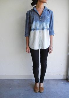 tie-dyed chambray top diy jeans shirt