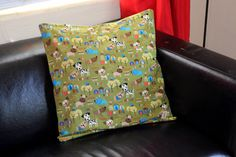 Decorative pillow 20x 20 olive green with dog by PuppyPawzBoutique