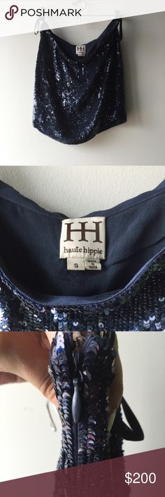 Haute Hippie sequin miniskirt This Haute hippie sequin mini skirt is to die for!! Midnight blue. Form fitting catches every bit of light and everyone's eye!! Fully lined with side zip and closure. Just enough stretch very comfortable! Worn once! Haute Hippie Skirts Mini