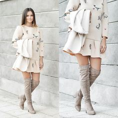 Get this look: http://lb.nu/look/8899423  More looks by Tamara Bellis: http://lb.nu/tamarabellis  Items in this look:  Sammydress Beige Over The Knees, Zaful Cardigan, Ebay Dress   #chic #romantic #street