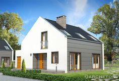 Projekt domu Niko - niepowtarzalny dom, z wejściem od ściany szczytowej, pokryty dachem dwuspadowym, bez okapów