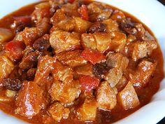 Filipino Menudo Recipe. Filipino menudo is a stew of pork meat and liver cubes with garbansos (chickpeas), potatoes and tomato sauce.  #Filipino #Food #Recipe