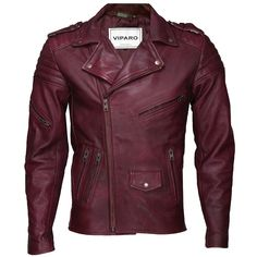 Mens Red Searle Quilted Leather Jacket | by VIPARO