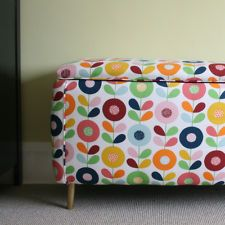 006 ~Ottoman Blanket Box~ Upholstered in Scandinavian Stem Fabric Vintage 1960s