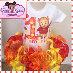 Daniel tiger ribbon trimmed tutu set by kaykouturetutu on Etsy