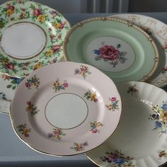 Vintage dishes from cosyhomeblog.com Can't have more than 2 of the same pattern.