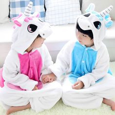 9441b781be Hot Sale Animal Kids Pajamas Winter Warm Flannel Sleepwear Lovely Pink And  Blue Unicorn Cosplay Costume Hood Loungewear Onesies-in Pajama Sets from  Mother ...