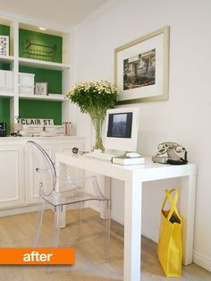 White laptop / iMac desktop desk. Transparent Queen Anne chair is great for making the room look larger and modern!