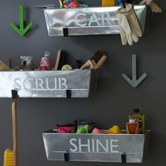 """I like how they separated items for each """"job"""" and then labeled the containers   28 Brilliant Garage Organization Ideas   Metal Planter Storage"""