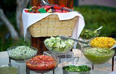 Taco station with a salsa bar