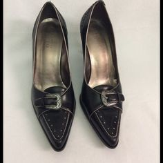 Franco Sarto pumps Franco Sarto black heels. Leather upper. Man made sole. Vintage style. About 3 inch. Ask questions before buying. Franco Sarto Shoes Heels