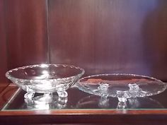 Glass Footed Bowl and Plate