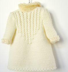 Winter Wonderland white coat and hat PDF knitting by LelleModa
